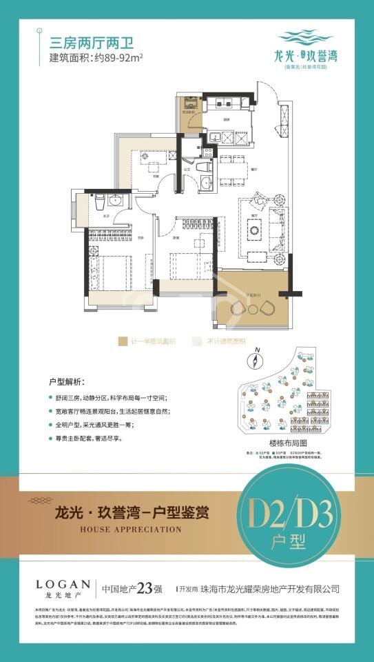 D2D3戶型 89-92㎡ 三房兩廳兩衛
