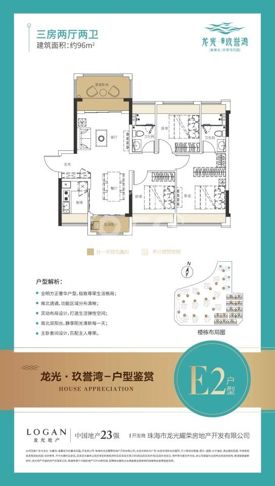 E2戶型 96㎡ 三房兩廳兩衛