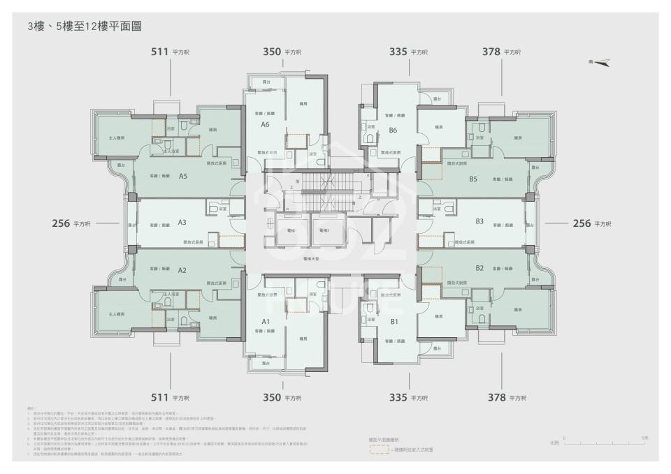 3樓、5樓至12樓