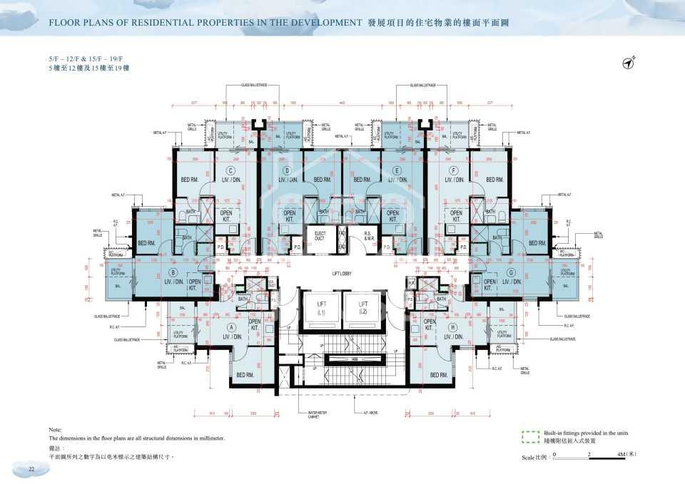5樓至19樓平面圖
